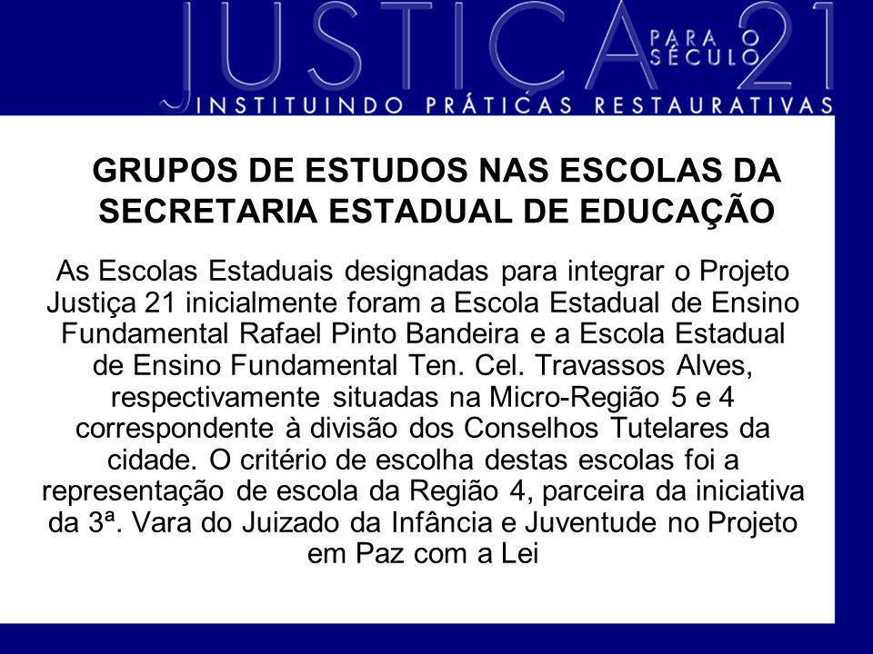 GRUPOS DE ESTUDOS NAS ESCOLAS DA SECRETARIA ESTADUAL DE EDUCAÇÃO As Escolas Estaduais designadas para integrar o Projeto Justiça 21 inicialmente foram