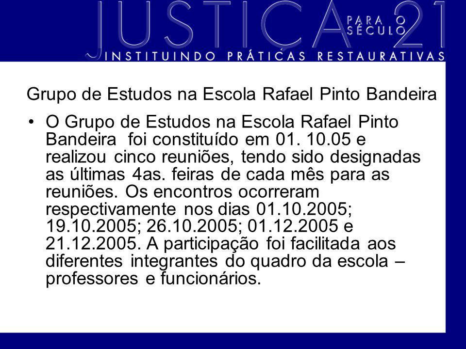 Grupo de Estudos na Escola Rafael Pinto Bandeira O Grupo de Estudos na Escola Rafael Pinto Bandeira foi constituído em 01. 10.05 e realizou cinco reun