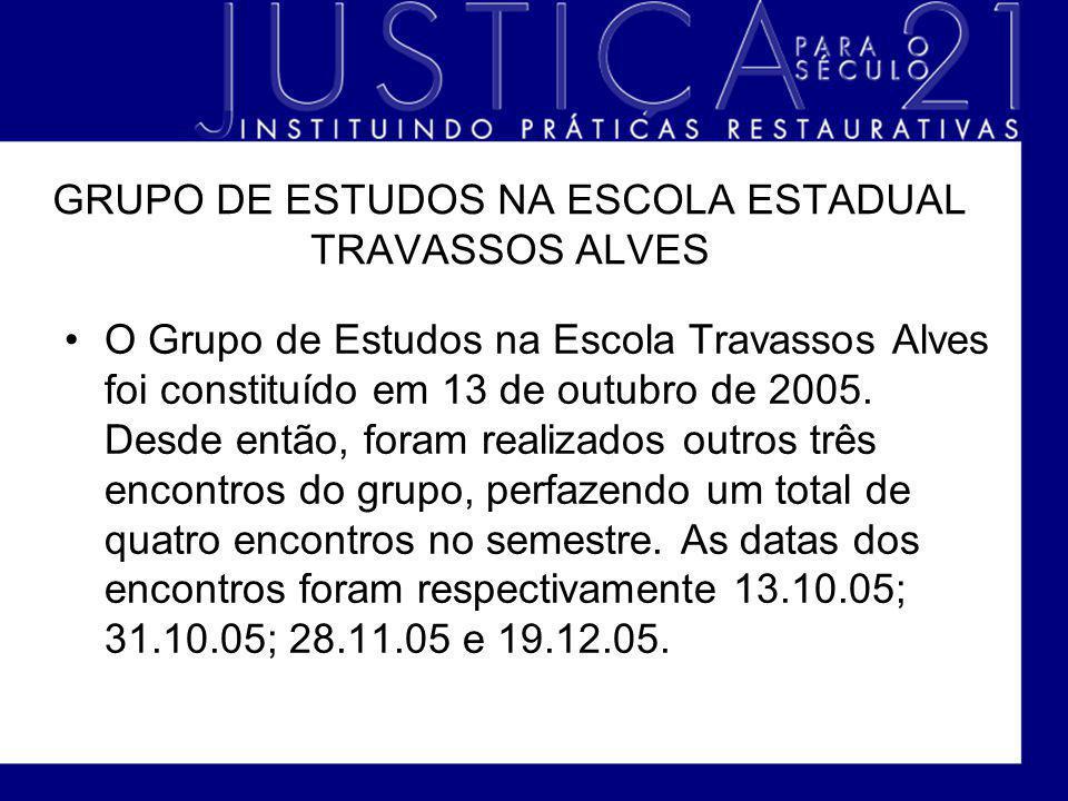 GRUPO DE ESTUDOS NA ESCOLA ESTADUAL TRAVASSOS ALVES O Grupo de Estudos na Escola Travassos Alves foi constituído em 13 de outubro de 2005. Desde então