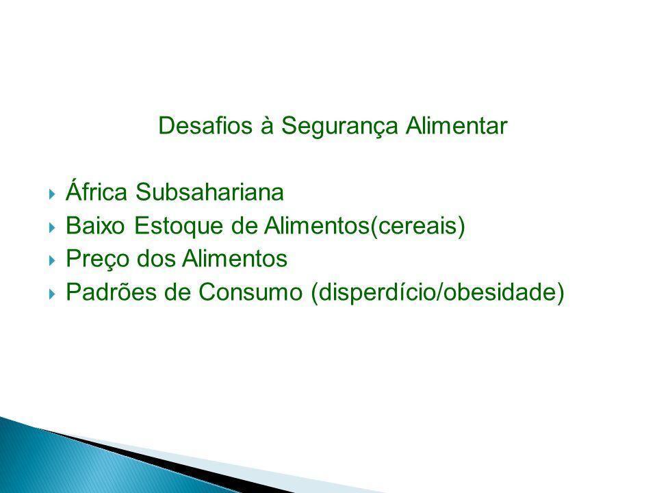 Desafios à Segurança Alimentar África Subsahariana Baixo Estoque de Alimentos(cereais) Preço dos Alimentos Padrões de Consumo (disperdício/obesidade)