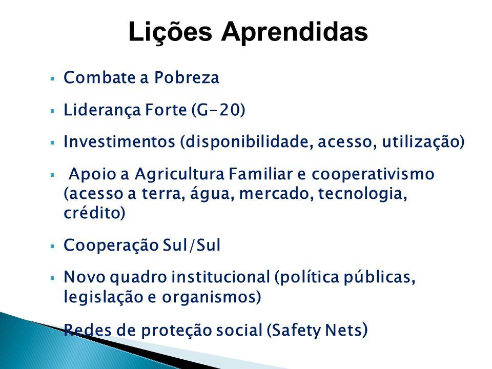 Combate a Pobreza Liderança Forte (G-20) Investimentos (disponibilidade, acesso, utilização) Apoio a Agricultura Familiar e cooperativismo (acesso a t