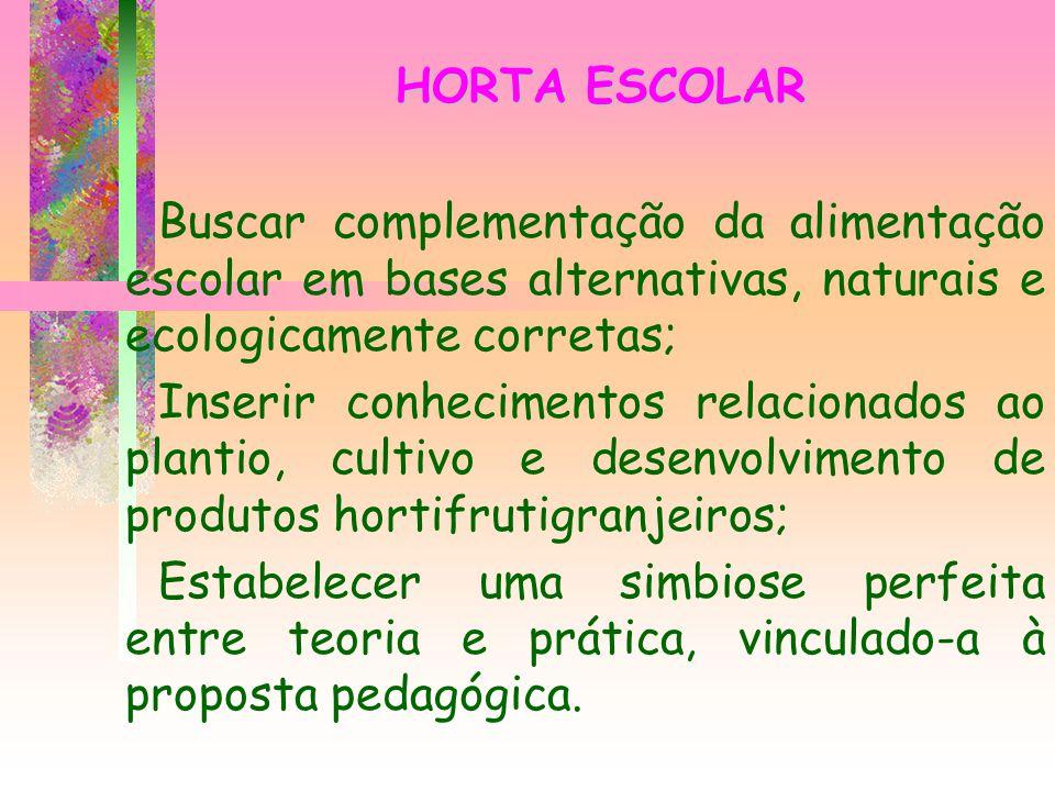 HORTA ESCOLAR Buscar complementação da alimentação escolar em bases alternativas, naturais e ecologicamente corretas; Inserir conhecimentos relacionad
