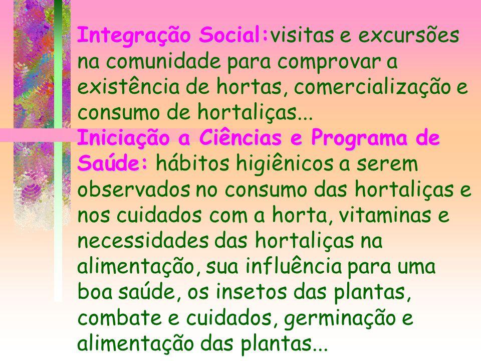 Integração Social Iniciação a Ciências e Programa de Saúde: Integração Social:visitas e excursões na comunidade para comprovar a existência de hortas,