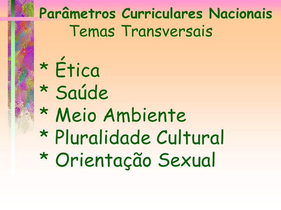 Parâmetros Curriculares Nacionais Temas Transversais * Ética * Saúde * Meio Ambiente * Pluralidade Cultural * Orientação Sexual