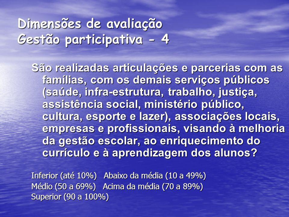 Dimensões de avaliação Gestão participativa – 3 Os organismos colegiados são atuantes e expressam comprometimento, iniciativa e efetiva colaboração na