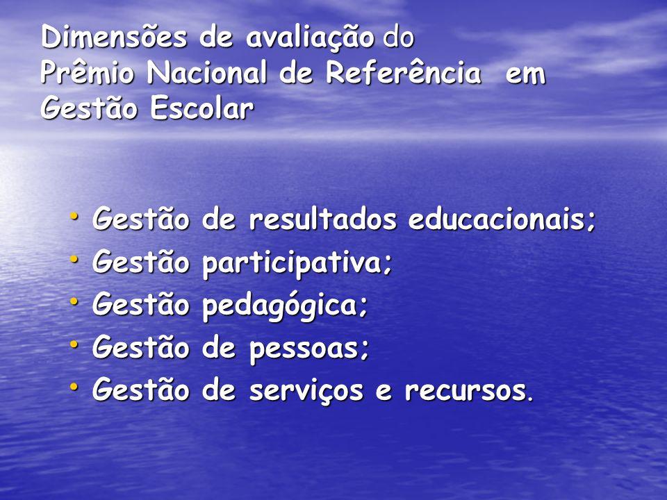 Dimensões de avaliação do Prêmio Nacional de Referência em Gestão Escolar Gestão de resultados educacionais; Gestão de resultados educacionais; Gestão participativa; Gestão participativa; Gestão pedagógica; Gestão pedagógica; Gestão de pessoas; Gestão de pessoas; Gestão de serviços e recursos.