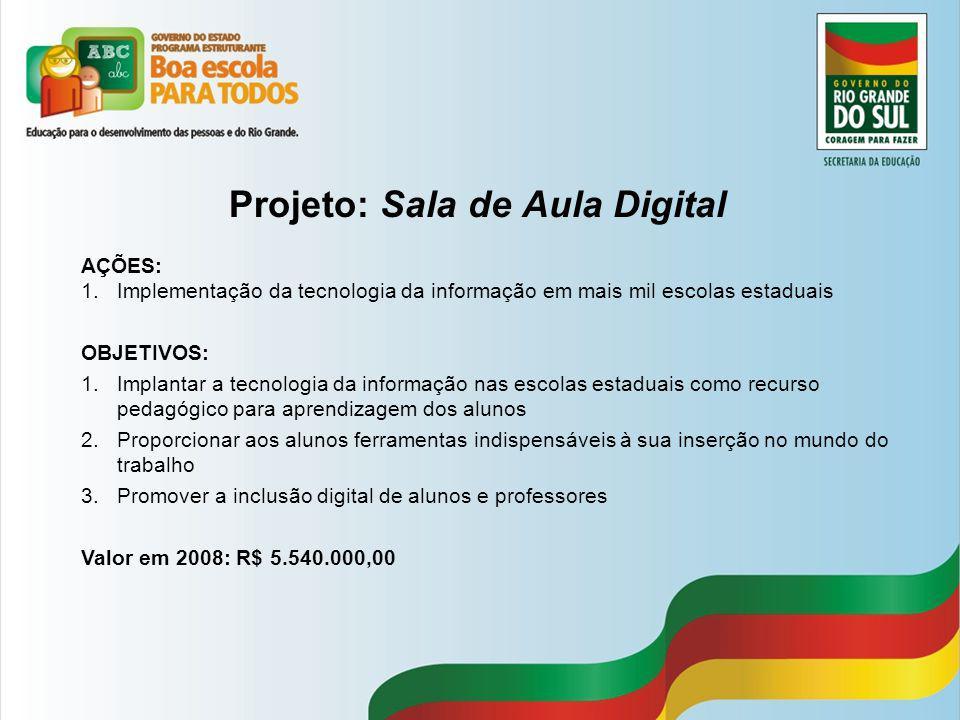 Projeto: Sala de Aula Digital AÇÕES: 1.Implementação da tecnologia da informação em mais mil escolas estaduais OBJETIVOS: 1.Implantar a tecnologia da