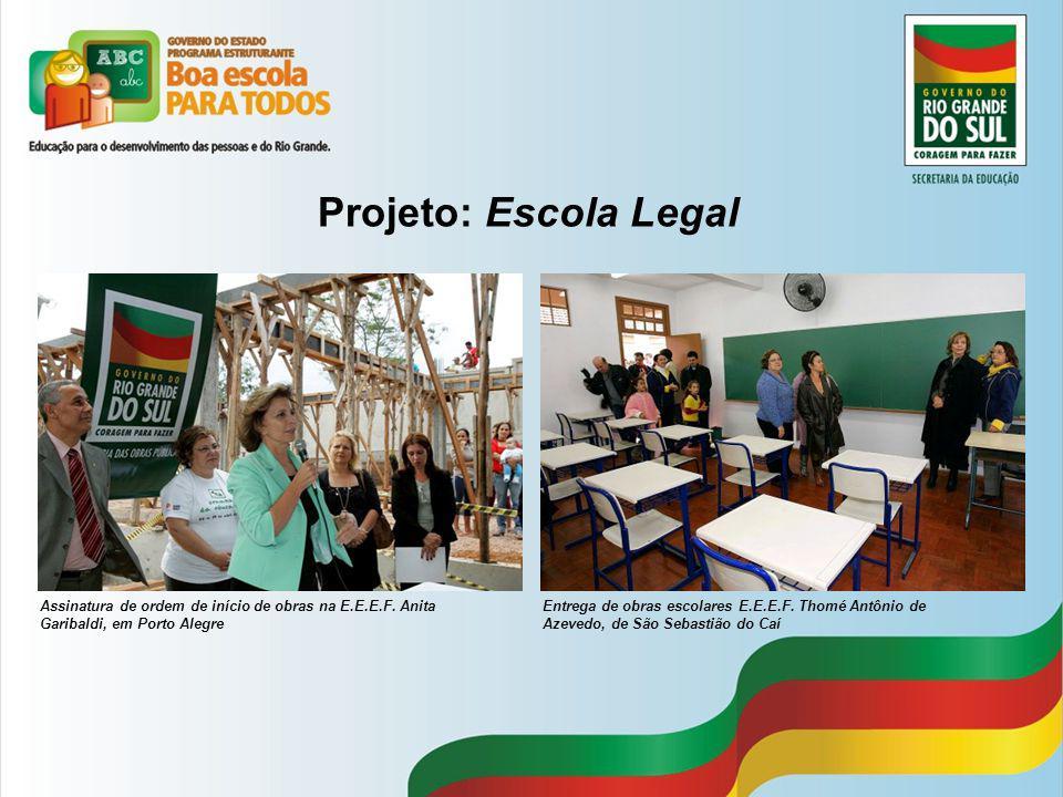 Projeto: Escola Legal Assinatura de ordem de início de obras na E.E.E.F. Anita Garibaldi, em Porto Alegre Entrega de obras escolares E.E.E.F. Thomé An