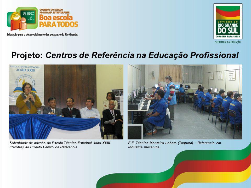 Projeto: Centros de Referência na Educação Profissional Solenidade de adesão da Escola Técnica Estadual João XXIII (Pelotas) ao Projeto Centro de Refe