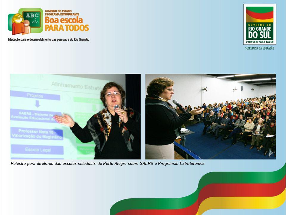 Palestra para diretores das escolas estaduais de Porto Alegre sobre SAERS e Programas Estruturantes