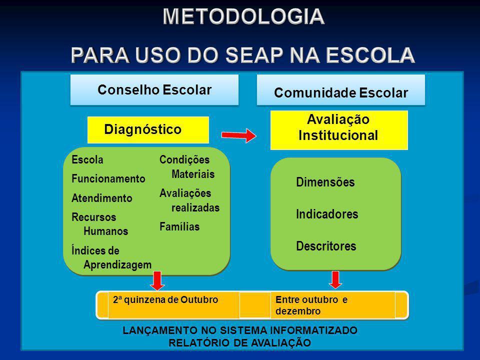 21 Diagnóstico Avaliação Institucional LANÇAMENTO NO SISTEMA INFORMATIZADO RELATÓRIO DE AVALIAÇÃO Escola Funcionamento Atendimento Recursos Humanos Ín