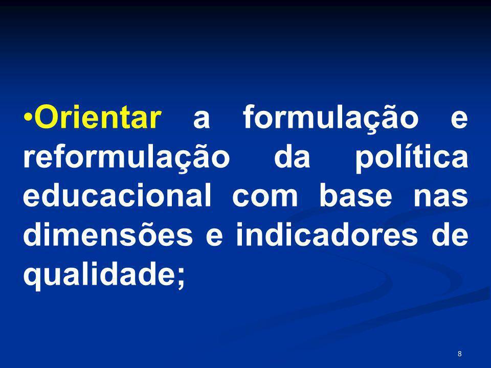 8 Orientar a formulação e reformulação da política educacional com base nas dimensões e indicadores de qualidade;