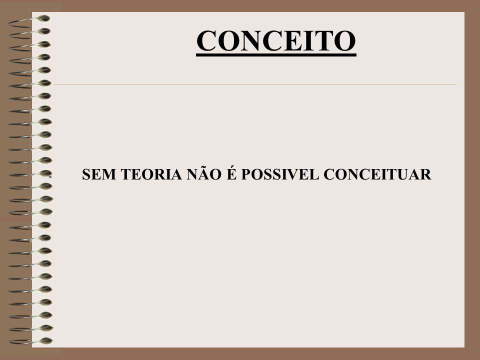 - SEM TEORIA NÃO É POSSIVEL CONCEITUAR CONCEITO