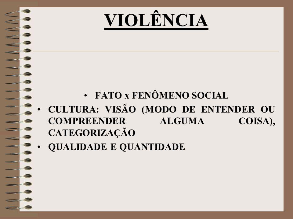 VIOLÊNCIA FATO x FENÔMENO SOCIAL CULTURA: VISÃO (MODO DE ENTENDER OU COMPREENDER ALGUMA COISA), CATEGORIZAÇÃO QUALIDADE E QUANTIDADE