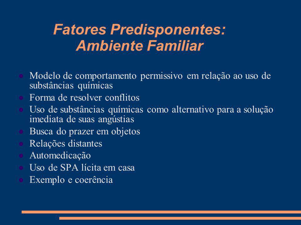 Fatores Predisponentes: Adolescência Imediatismo Grupo Experimentos Onipotência