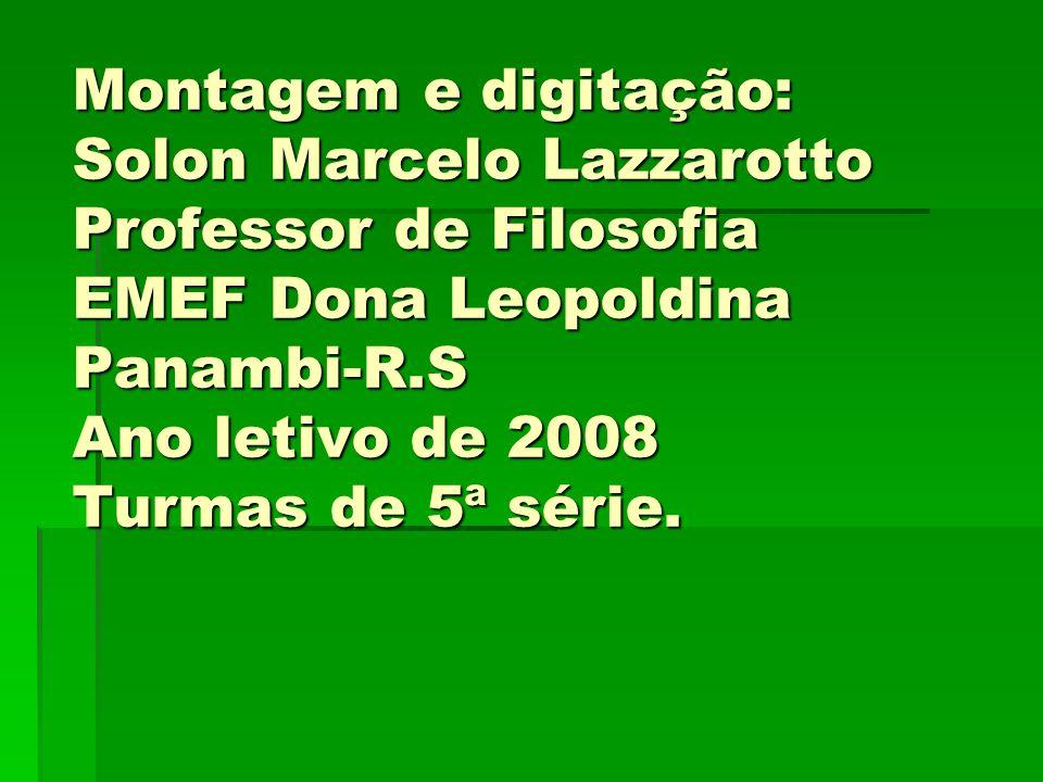 Montagem e digitação: Solon Marcelo Lazzarotto Professor de Filosofia EMEF Dona Leopoldina Panambi-R.S Ano letivo de 2008 Turmas de 5ª série.