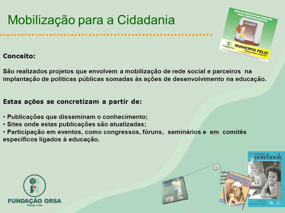 Mobilização para a Cidadania Conceito: São realizados projetos que envolvem a mobilização de rede social e parceiros na implantação de políticas públicas somadas às ações de desenvolvimento na educação.