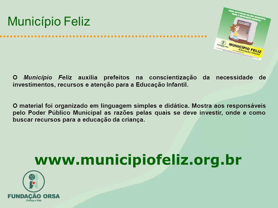 O Município Feliz auxilia prefeitos na conscientização da necessidade de investimentos, recursos e atenção para a Educação Infantil. O material foi or