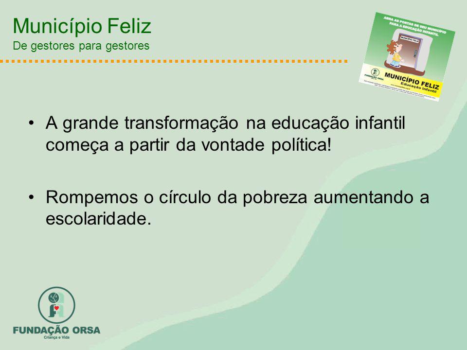Município Feliz De gestores para gestores A grande transformação na educação infantil começa a partir da vontade política! Rompemos o círculo da pobre