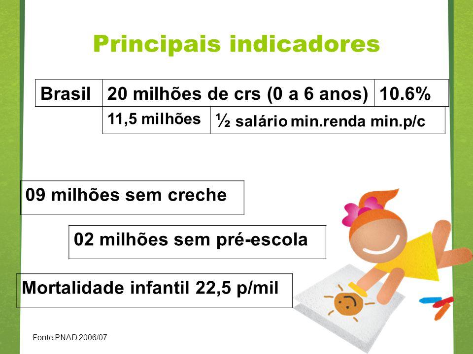 Principais indicadores Brasil20 milhões de crs (0 a 6 anos)10.6% 11,5 milhões ½ salário min.renda min.p/c 09 milhões sem creche 02 milhões sem pré-esc