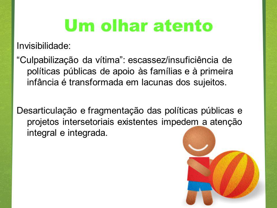 Um olhar atento Invisibilidade: Culpabilização da vítima: escassez/insuficiência de políticas públicas de apoio às famílias e à primeira infância é tr