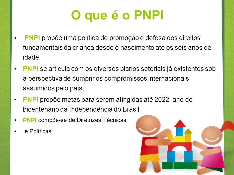 O que é o PNPI PNPI propõe uma política de promoção e defesa dos direitos fundamentais da criança desde o nascimento até os seis anos de idade. PNPI s