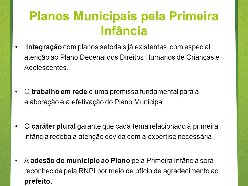 Planos Municipais pela Primeira Infância Integração com planos setoriais já existentes, com especial atenção ao Plano Decenal dos Direitos Humanos de