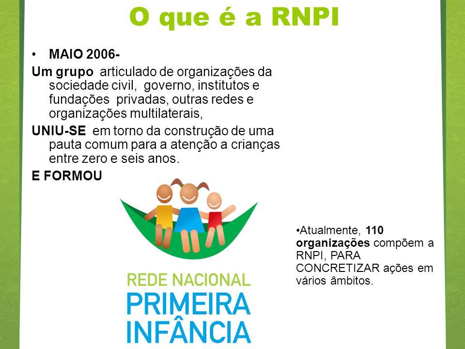 O que é a RNPI MAIO 2006- Um grupo articulado de organizações da sociedade civil, governo, institutos e fundações privadas, outras redes e organizaçõe