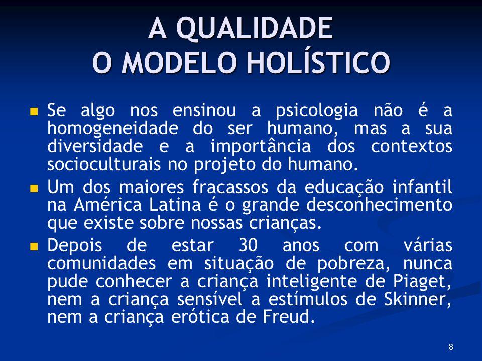 8 A QUALIDADE O MODELO HOLÍSTICO Se algo nos ensinou a psicologia não é a homogeneidade do ser humano, mas a sua diversidade e a importância dos contextos socioculturais no projeto do humano.