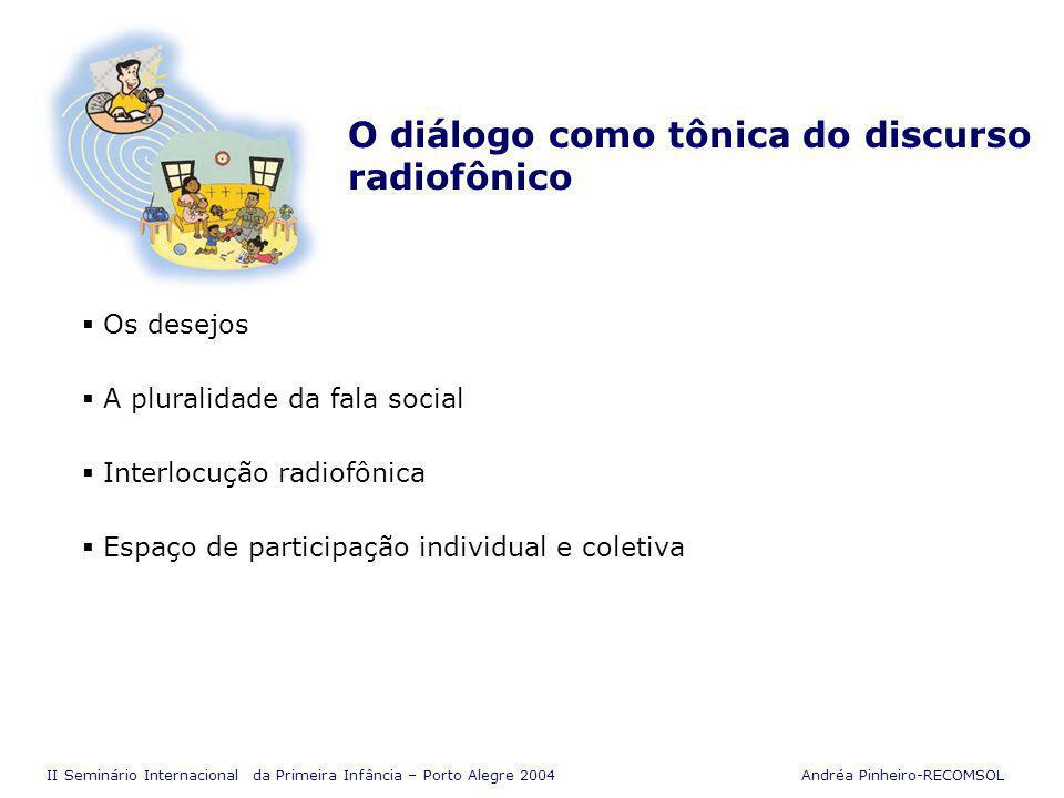 II Seminário Internacional da Primeira Infância – Porto Alegre 2004 Andréa Pinheiro-RECOMSOL Uma voz disposta a esclarecer Serviço de interesse público O contexto de cada problema A crítica responsável Cuidados essenciais Ação concreta em defesa da vida