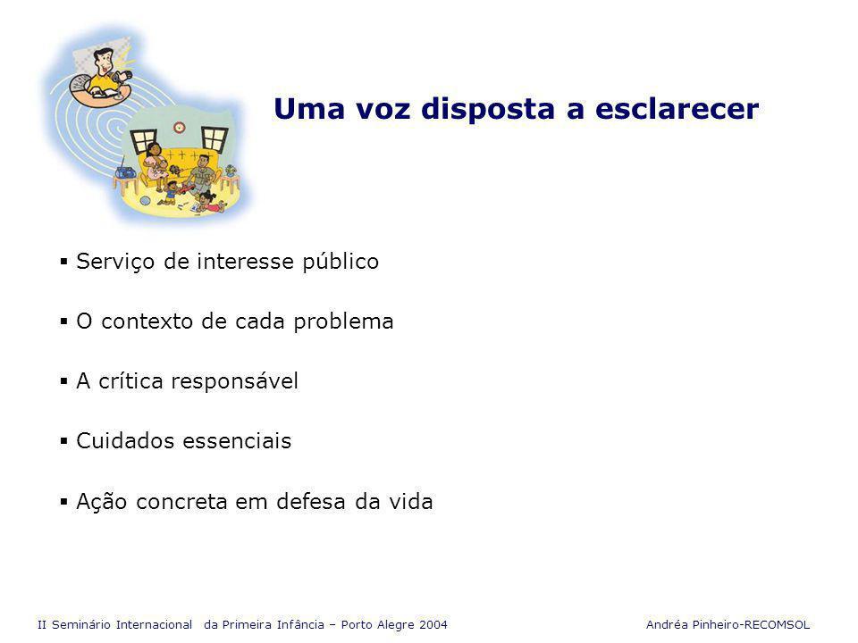 II Seminário Internacional da Primeira Infância – Porto Alegre 2004 Andréa Pinheiro-RECOMSOL Agente de mobilização social Relação de confiança com os ouvintes Estimular a valorização da cultura local As mudanças de hábitos e comportamentos Multiplicador de informações Apoio a projetos e políticas públicas