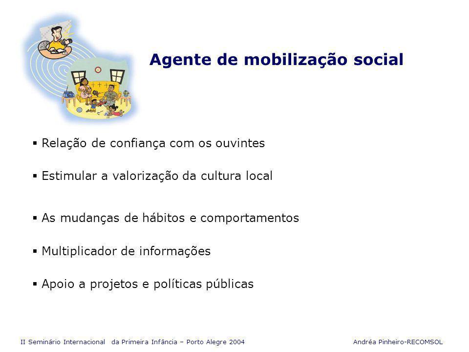 II Seminário Internacional da Primeira Infância – Porto Alegre 2004 Andréa Pinheiro-RECOMSOL O saber que nasce no dia-a-dia Os radialistas foram, aos poucos, descobrindo que atuar em defesa da causa da infância significa mudar a forma de ver o mundo Postura em defesa da vida