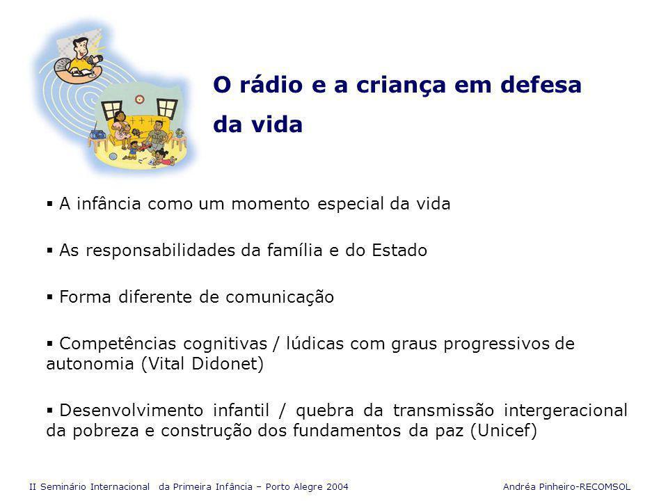 II Seminário Internacional da Primeira Infância – Porto Alegre 2004 Andréa Pinheiro-RECOMSOL Competências Sociais Investimento da família e da sociedade A família é a instituição mais competente A família como provedora das necessidades básicas das crianças nos primeiros anos de vida.