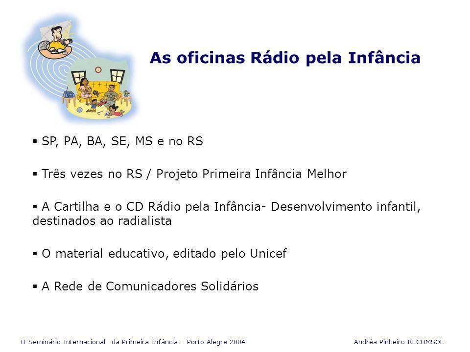 II Seminário Internacional da Primeira Infância – Porto Alegre 2004 Andréa Pinheiro-RECOMSOL Rede de Comunicadores Solidários O que é.
