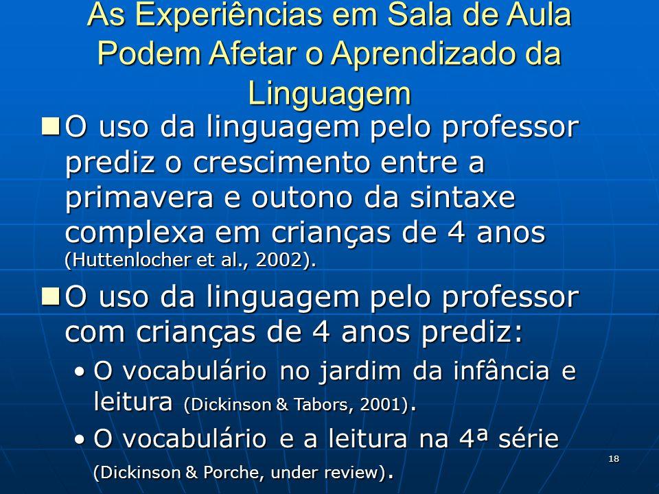 18 As Experiências em Sala de Aula Podem Afetar o Aprendizado da Linguagem O uso da linguagem pelo professor prediz o crescimento entre a primavera e outono da sintaxe complexa em crianças de 4 anos (Huttenlocher et al., 2002).