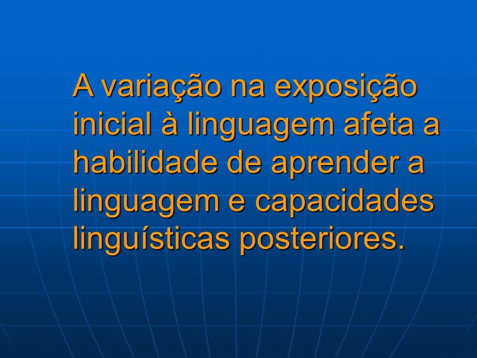 A variação na exposição inicial à linguagem afeta a habilidade de aprender a linguagem e capacidades linguísticas posteriores.