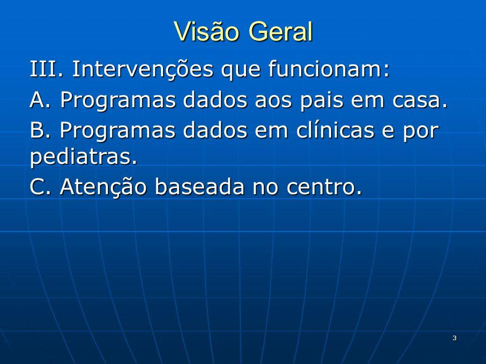 3 Visão Geral III.Intervenções que funcionam: A. Programas dados aos pais em casa.