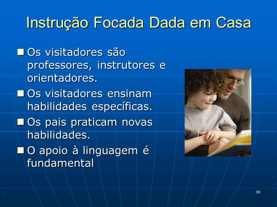 39 Instrução Focada Dada em Casa Os visitadores são professores, instrutores e orientadores.