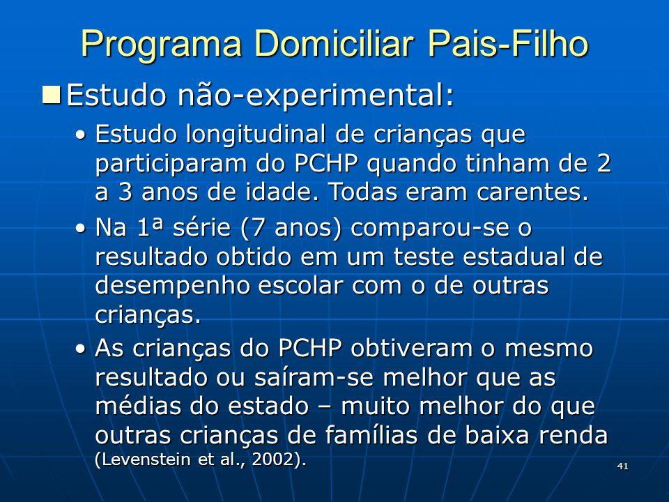 41 Programa Domiciliar Pais-Filho Estudo não-experimental: Estudo não-experimental: Estudo longitudinal de crianças que participaram do PCHP quando tinham de 2 a 3 anos de idade.