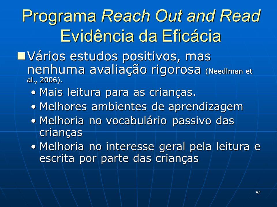 47 Programa Reach Out and Read Evidência da Eficácia Vários estudos positivos, mas nenhuma avaliação rigorosa (Needlman et al., 2006).