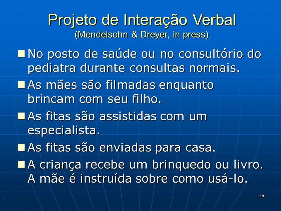 Projeto de Interação Verbal (Mendelsohn & Dreyer, in press) No posto de saúde ou no consultório do pediatra durante consultas normais.