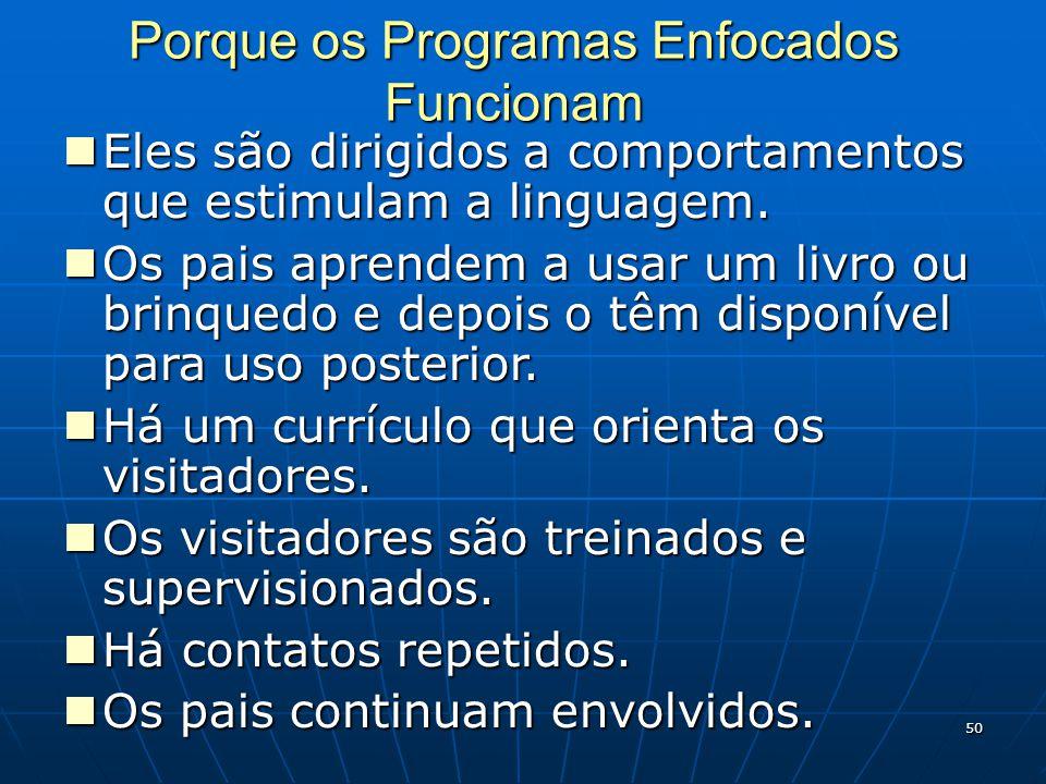 50 Porque os Programas Enfocados Funcionam Eles são dirigidos a comportamentos que estimulam a linguagem.