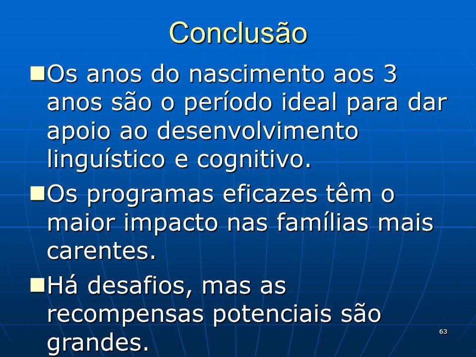63 Conclusão Os anos do nascimento aos 3 anos são o período ideal para dar apoio ao desenvolvimento linguístico e cognitivo.