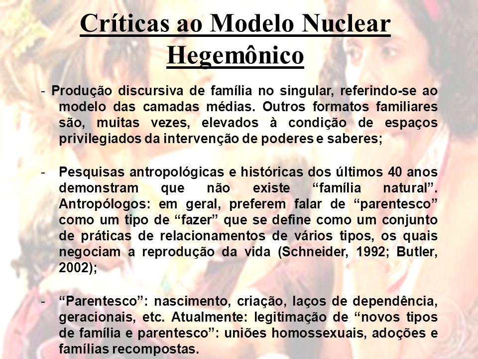 Críticas ao Modelo Nuclear Hegemônico - Produção discursiva de família no singular, referindo-se ao modelo das camadas médias.