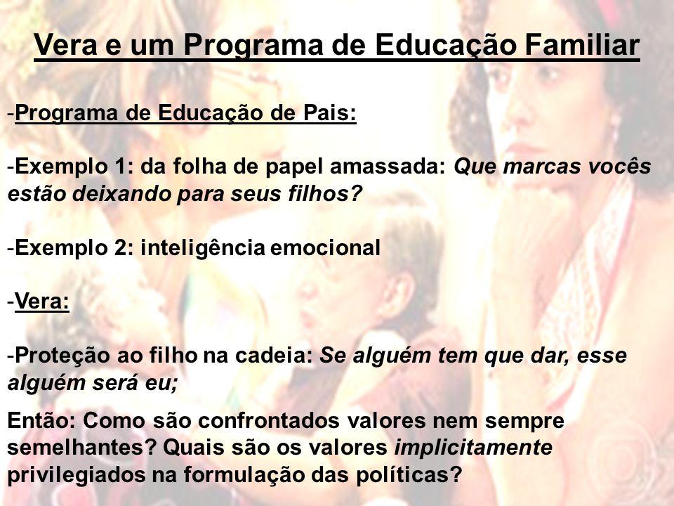 Vera e um Programa de Educação Familiar -Programa de Educação de Pais: -Exemplo 1: da folha de papel amassada: Que marcas vocês estão deixando para seus filhos.