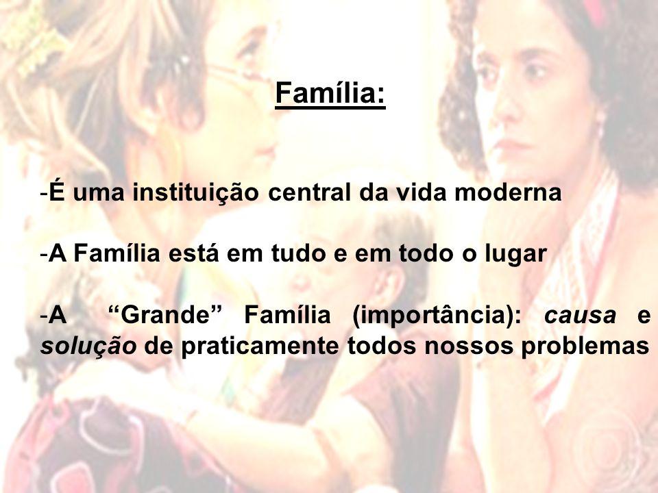 Família: - É uma instituição central da vida moderna - A Família está em tudo e em todo o lugar - A Grande Família (importância): causa e solução de praticamente todos nossos problemas