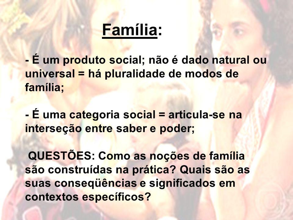 Família: - É um produto social; não é dado natural ou universal = há pluralidade de modos de família; - É uma categoria social = articula-se na interseção entre saber e poder; QUESTÕES: Como as noções de família são construídas na prática.