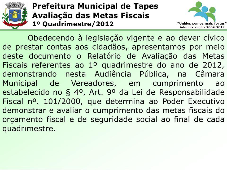 Prefeitura Municipal de Tapes Unidos somos mais fortes Administração 2009-2012 Avaliação das Metas Fiscais 1º Quadrimestre/2012 Obedecendo à legislaçã