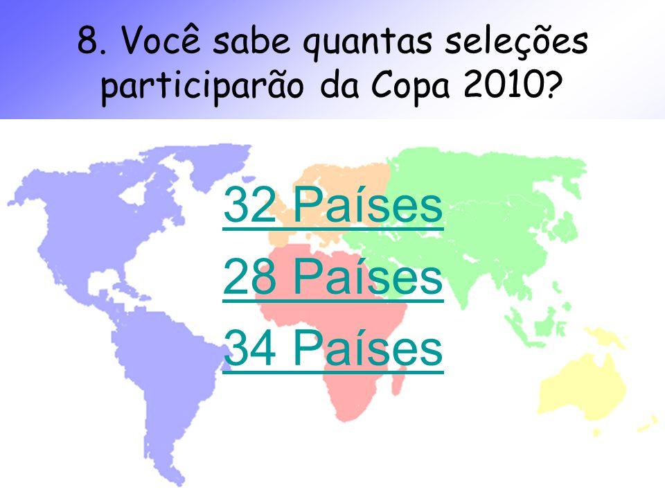 Produzido por Denise Comelli denisecomelli.blogspot.com 8. Você sabe quantas seleções participarão da Copa 2010? 32 Países 28 Países 34 Países