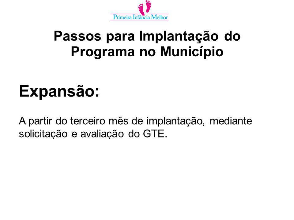 Expansão: A partir do terceiro mês de implantação, mediante solicitação e avaliação do GTE.